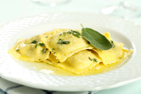 pasta ravioli with butter and sage