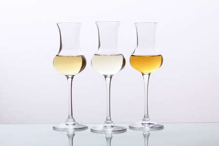 cocktails three glasses on gray background