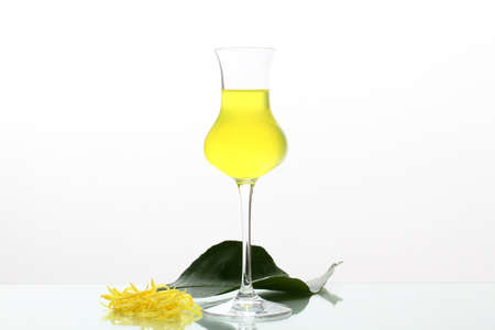 limoncello cocktail with lemon on gray background photo