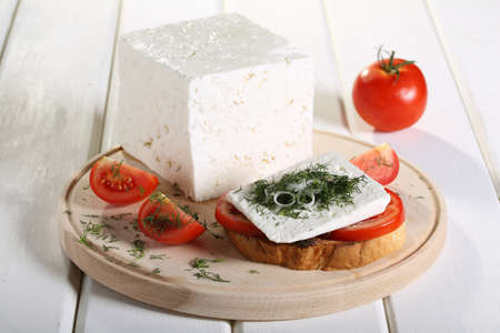 cottage cheese:  cheese feta tomato and spices on toast