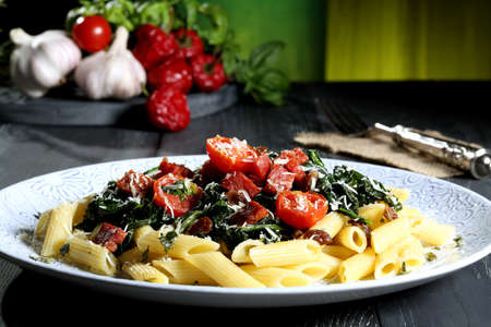 vegetarian pasta green  background photo