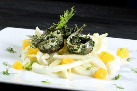 sea fish salad gray background photo