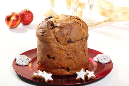 Christmas cake panettone white background photo