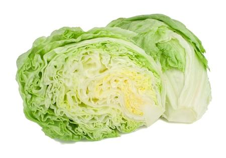 Studio shot of a whole iceberg lettuce on white background. Stock Photo