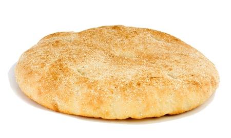 Bread Arabian (flatbread) on a white background. Stock Photo
