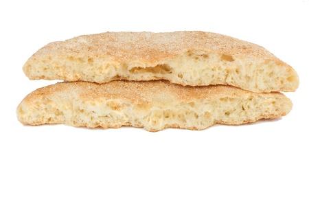 bread arabian (flatbread) on a white background.
