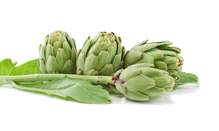 Artichoke fresh with a stalk and leaves.Isolated on a white background Stok Fotoğraf