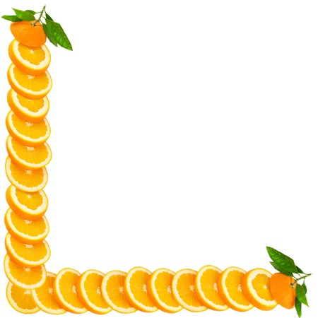 Orange making a border isolated on a white background photo
