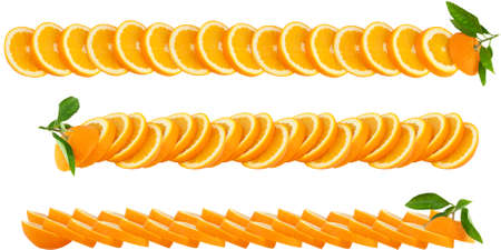 Orange  with green leaves   making a border.Set of three. Isolated on a white Stock Photo - 11618253