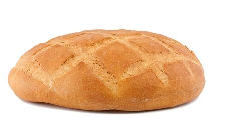 Het hele brood van rond brood. Geà ¯ soleerd op een witte achtergrond Stockfoto