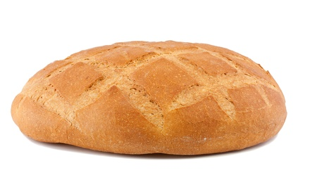 The whole loaf of round bread. Isolated on a white background Stock Photo