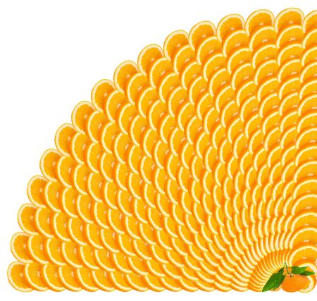 Orange slices making a border Isolated on a white  making a border Stock Photo - 11618260