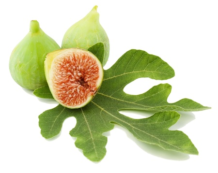 Ripe fresh   fig fruits  and leaf on white background