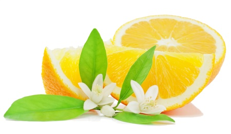 navel orange: Orange, leaf, flower and slice  isolated on a white background.