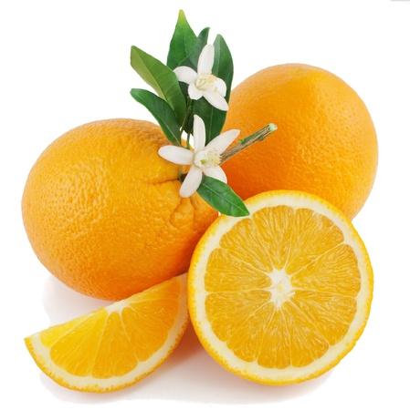 navel orange: Orange, flower and slice  Isolated on a white background