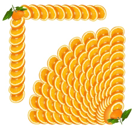 Orange slices making a border Isolated on a white  making a border Stock Photo - 13467550