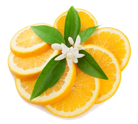navel orange:  Orange with a flower and leaves Isolated on a white background