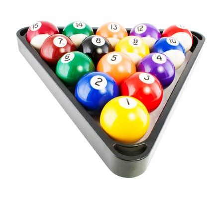 bola de billar: Puntos y rayas bolas de billar triángulo blac aisladas sobre fondo blanco. Foto de archivo