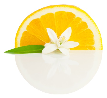 Orange, flower and slice with  reflection. Isolated on a white background.