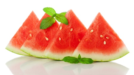 sliced watermelon and mint leaf  isolated on a white background with reflection