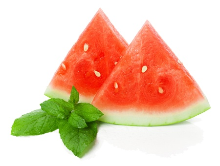 sliced watermelon and mint with drops leaf isolated on a white background with reflection Stock Photo