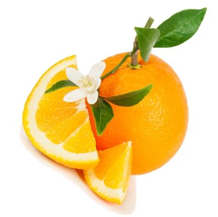 navel orange: Orange, leaf, blossom and slice isolated on a white background.  Stock Photo