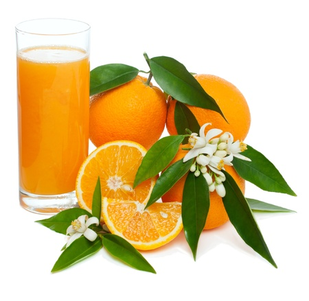 Orange juice and fruits with blossom and leaves  isolated on white background Stock Photo