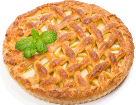 apple fruit pie  decorated with mint leaf  isolated on white  photo