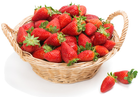 strawberry baskets: basket with strawberries, isolated on white Stock Photo