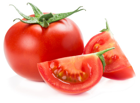tomato slices: red tomato vegetable with cut isolated on white background