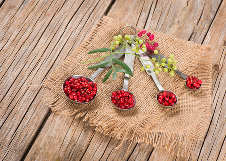 peppertree: Pink dried  peppercorns in measuring spoons and branches of the fresh on wooden background
