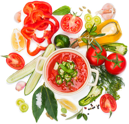 raw vegetables: Gazpacho soup and ingredients isolated on a white, top view