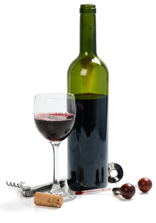 Red wine and accessories for wine from mahogany isolated on a white background photo