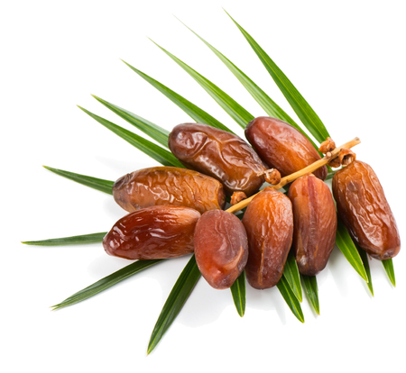 bunch of a dried dates with palm leaf isolated on white background Standard-Bild