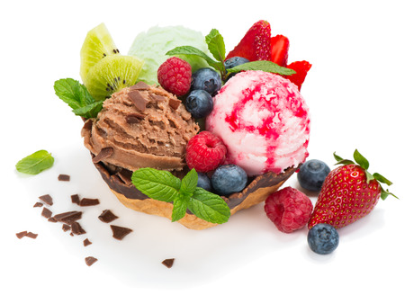 Berry and chocolate ice cream with fresh fruits,  isolated on white background Stock Photo