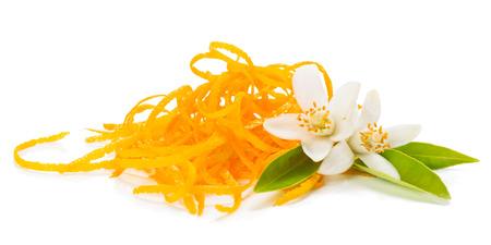 Fresh orange zest and twig af orange tree with flowers isolated on white background Stock Photo
