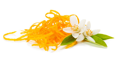 Fresh orange zest and twig af orange tree with flowers isolated on white background Standard-Bild