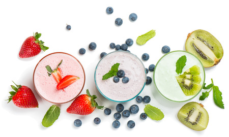 Top view of different smoothies of berry isolated on white background Stockfoto