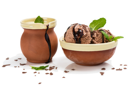 chocolate mint: Chocolate ice cream with sause and mint isolated on white background
