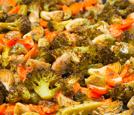 brussel: Baked vegetables: broccoli,  brussel sprouts,  carrots and  spice