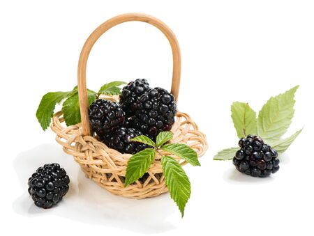 canastas con frutas: Fresh blackberry with leaves in basket isolated on a white