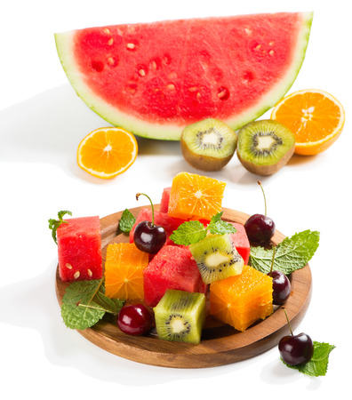 mix fruit: Fruit mix salad and ingredients isolated on white background Stock Photo
