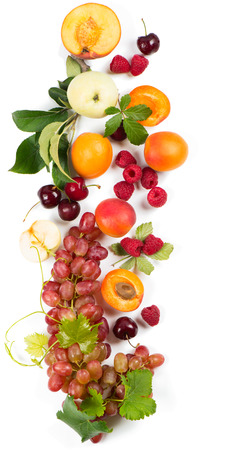 Variation fresh fruits and berries isolated on white, top view