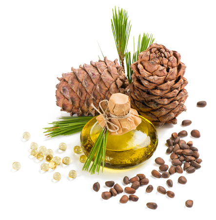 siberian pine: Cedar pine oil in a bottle and  capsule, cones and nuts isolated on white background Stock Photo