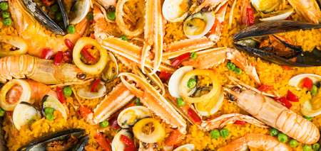 cockle: Seafood paella  as background texture, top view