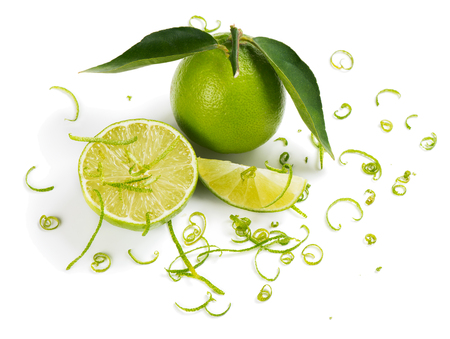 lime: Close up of lime and zest isolated a white background
