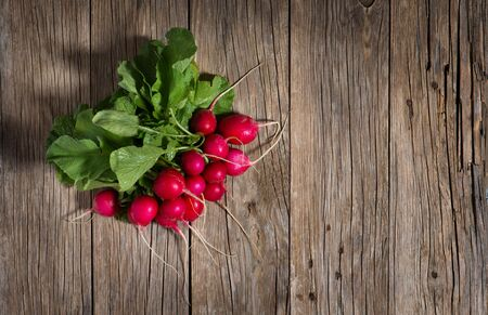 fascicle: Red garden radish on a rustic wooden background with copy space, top view Stock Photo