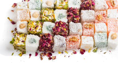 delight: Assorted traditional turkish delight on white background Stock Photo