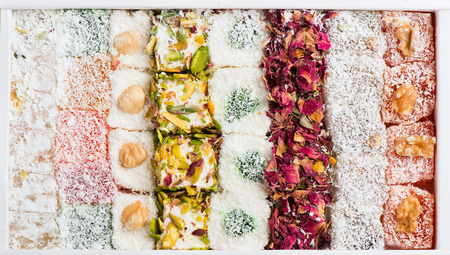 turkish delight: Traditional turkish delight rahat lokum in a box, top view