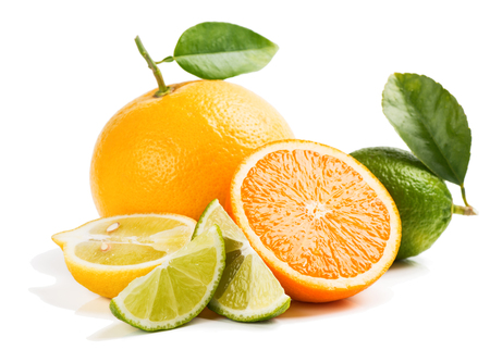 Various citrus fruits isolated over white background